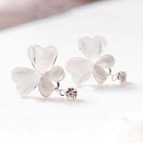 White Crystal Butterfly Earrings